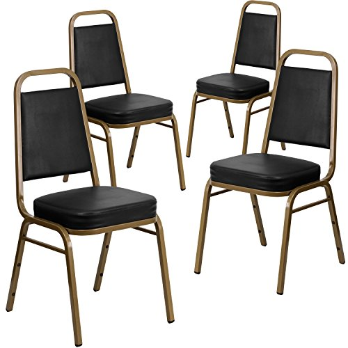 Flash Furniture 4 Pk. HERCULES Series Trapezoidal Back Stacking Banquet Chair in Black Vinyl - Gold Frame by Flash Furniture