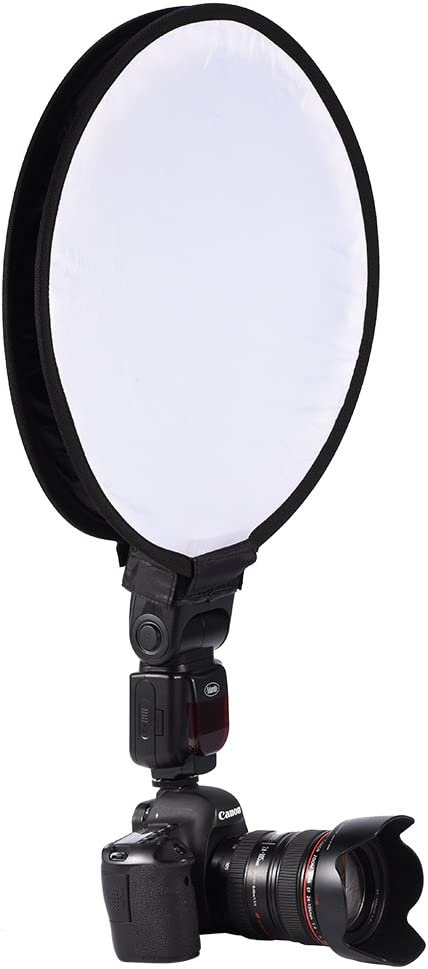 40cm Mini Portable Softbox Foldable Round Beauty Dish Speedlite Flash Diffuser Softbox with Storage Bag Universal Round Softbox for Camera Speedlight Bewinner 30cm 30CM
