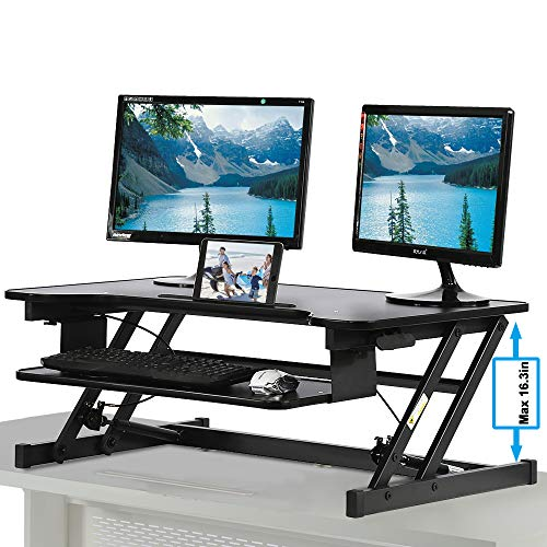 Standing Desk, Height Adjustable Stand Up Desk Gas Spring Riser Converter Sit to Stand Desk with Removable Keyboard Tray for Desktop Laptop Dual Monitor (32