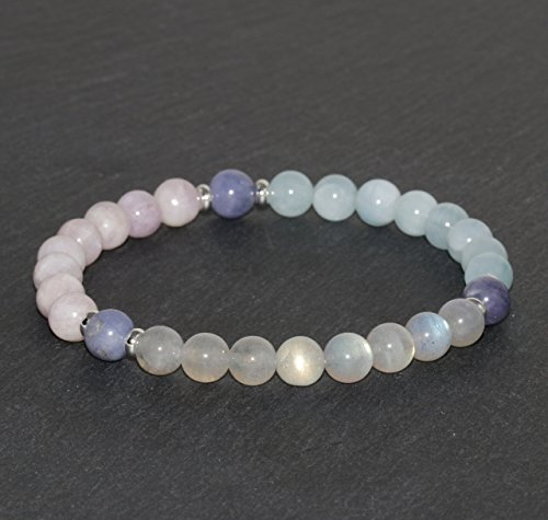 6mm Aquamarine, Labradorite, Kunzite and Tanzanite Bracelet, Gemstone Bracelet, Wrist Mala Beads, Healing Jewelry, Beaded Jewellery, Yoga