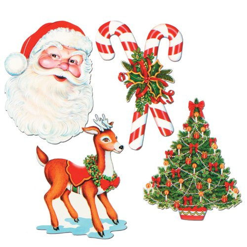 Beistle 4-Pack Packaged Christmas Cutouts, (Vintage Christmas)