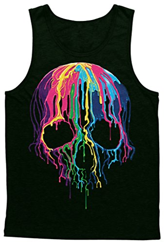 Blittzen Mens Tank Top Melting Skull, XL, Black