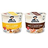 Quaker Instant Oatmeal Express Cups, Variety Pack, Maple Brown Sugar & Honey Almond, 12 Cups