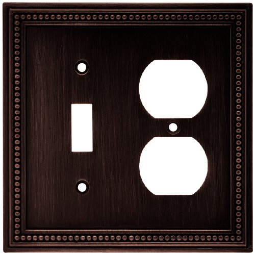 Brainerd 64406 Beaded Single Toggle Switch/Duplex Outlet Wall Plate/Switch Plate/Cover, Venetian Bronze ()