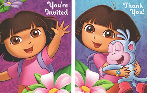 Nickelodeon Dora The Explorer Set of 8 Party Invitations, Thank You's and Envelopes ~ Flower Adventure