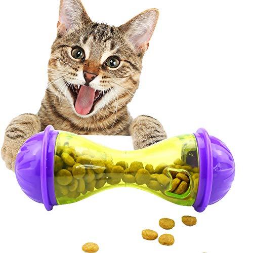 (Luck Dawn Dog Treat Ball, Bone Shape Interactive IQ Treat Dispensing Ball Toy Cat Food Dispenser)