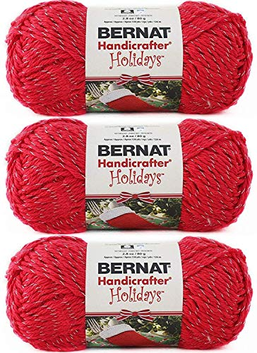 - Bulk Buy: Bernat Happy Holidays Sparkle Yarn (3-Pack) Silvered Red 164131-31710
