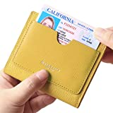 Women's RFID Small Leather Bifold Pocket Wallet Easy Access Card case Ladies Mini Coin Purse With ID Window Crosshatch Yellow