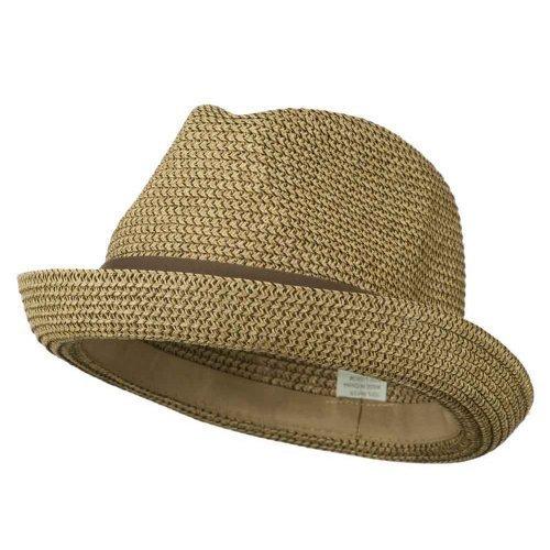 Men's Fedora with Paper Straw Braid - Tan (Paper Braid Fedora Hat)