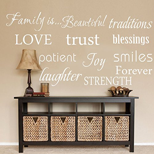 LUCKKYY Family Wall Decal~~ Set of 12 Family Words Quote Vinyl Family Wall Decal Family Room Art Decoration Living Room Decor Decoration for Home (White Decal)
