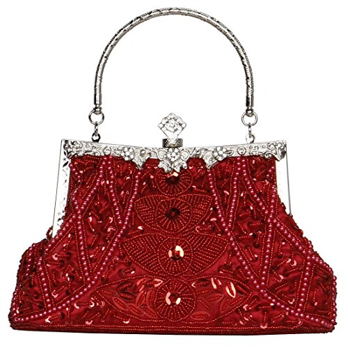 BMC Womens Royal Red Elegant Bead Pattern Rhinestone Encrusted Evening Purse Cocktail Clutch Fashion Handbag (Elegant Purse)