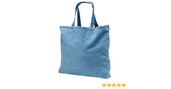 2dcf6cd60fe Amazon.com  12 PACK - Heavy Duty Cotton Washed Denim Tote Bag Customizable  Wholesale Tote Bags Reusable Tote Bags Bulk