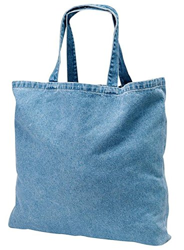 12 PACK - Heavy Duty Cotton Washed Denim Tote Bag Customizable Wholesale Tote Bags Reusable Tote Bags Bulk, Arts and Craft Vinyl Heat Embroidery Bags Shopping Grocery Denim Tote Bags in Bulk - TF270