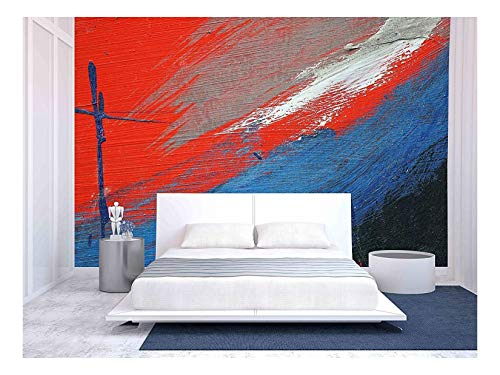 wall26 - Stroke of a Brush with White, Blue and Red Acrylic Paint on a Dusty Old Metal Fence - Removable Wall Mural | Self-Adhesive Large Wallpaper - 100x144 ()