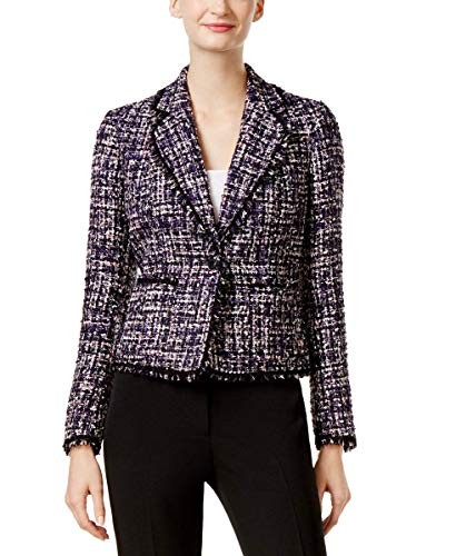 - Anne Klein Women's 1 Button Boucle Tweed Jacket, Plum Wine Multi, 12