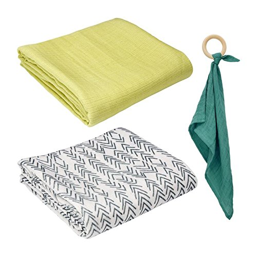 Oliver & Rain Swaddle & Teether Set - 3-Piece Set with 100% Organic Cotton Baby Muslin Swaddle Blankets and Wooden Teether - Solid Lime Green Swaddle, Arrow Print Swaddle, Dark Teal Teether by Oliver & Rain