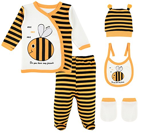 Newborn Bee Outfit (Lilax Baby Girl 5 Piece Fun Unique Soft Cotton Top, Pant, Cap, Mittens and Bib Layette Gift Set 0-3M Bee)