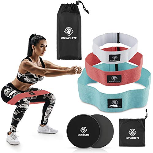 Invincilete Resistance Bands Hip Bands Booty Bands - Set of 3 Non Slip Cotton Resistance Fitness Loop Bands - Activate Glutes and Thighs - Get Toned Legs and a Bigger Butt! and Two Free Core Sliders!