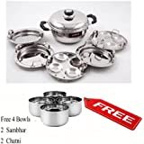Pristine Induction Compatible Stainless Steel Sandwich Base Mini Multi Purpose Kadai with Stainless Steel Lid & 5 Plates, 20 cm, 1PC (2 Idli Plates, 3 Dhokla, Patra Plates), Silver