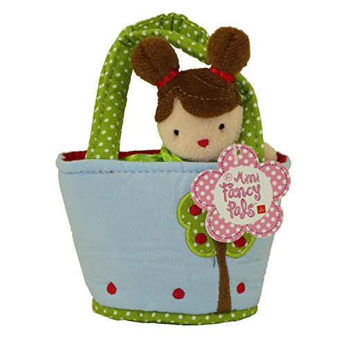 Blue Mini Doll - Aurora World Plush - Mini Fancy Pals Doll Carrier - GIRL in Blue with Tree Carrier (5 inch)