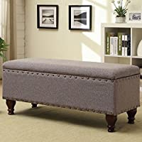 Modern and Trendy, Grey Kinfine Nail Head Trim with Decorative Turned Legs Storage Bench, Perfect Addition to Your Living Room or Bedroom