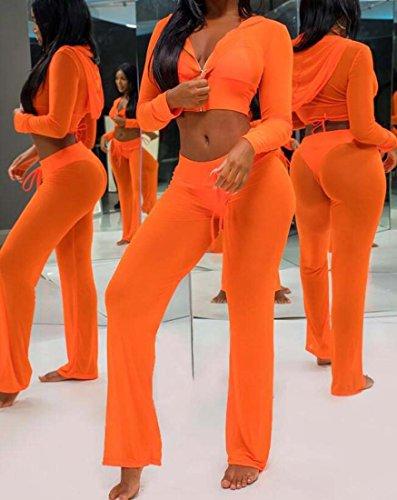 Taille Pantalon 2 Femmes Combinaisons Jaune Bandage Couleur Pices Long Sexy Barboteuses M XIAOXAIO et Set Tops Clubwear IxHqHZ1wS