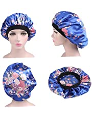 Soft Nachtrust Cap Satin Hair Bonnet Hat Gezellig Silk Head Cover Met Brede Elastische Wide Band 58cm