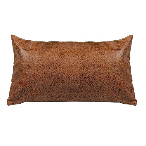 HiiARug Decorative Lumbar Pillow Cover for Couch, Faux Leather Cushion Cover Durable Pillow Case Invisible Zipper for Office Home Bedside Car Rectangular 14x20 Inch (Leather Large Pillows)