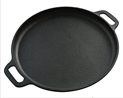 Premium Quality Cast Iron Pizza Pan By A1 Chef - Pre-seasoned Round Oven Griddle/Grill - 14'' Diameter - Suitable For All Kinds Of Ovens - Heats & Bakes Evenly
