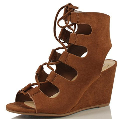 Delicious Women's Zigzag Faux Suede Open Toe Lace Up Cutout Open Cuff Wedge, Olive, 8 M US (Cognac, 8 M)