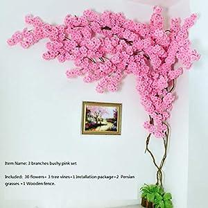 Artificial Cherry Blossom Tree Wall Pipe Interior Decoration Background Cherry Blossom Cane Fake Flowers Fake Vine Vines Make Sc,Type C 3