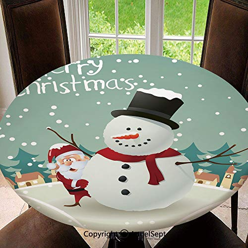 Spillproof Elastic Edged Tablecloths for Round Tables 47 Inch,Merry Christmas Cartoon with Santa Snowman Pines Houses Winter Decorative Indoor Outdoor Camping Picnic Circle Table Cloth,Almond Green