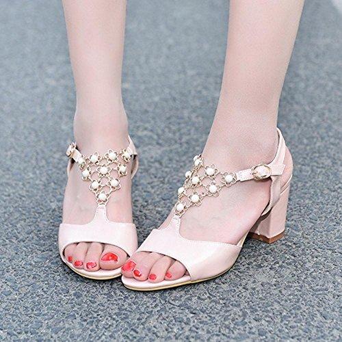 Sandales Pink JOJONUNU Peep Mode Femmes Toe ZxcFfUq