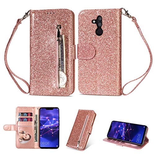 Price comparison product image Zipper Wallet Case for Huawei Mate 20 Lite, Aoucase Luxury Glitter Sparkly Bling Pocket Purse Wrist Strap Soft TPU Stand Leather Case with Black Dual-use Stylus - Rose Gold