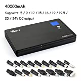 Weiyi 40000mAh Ultra Slim Portable Power Bank External Battery Pack (LCD Display -5V/9V/12V/15V/16V/19V/19.5V/20V/24V) for Laptops, Tablets, iPhones, Android Phones and Other Devices,Black