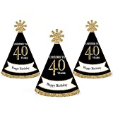 Adult 40th Birthday - Gold - Mini Cone Birthday Party Hats - Small Little Party Hats - Set of 10