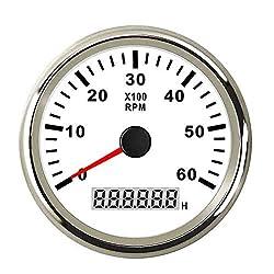 CT-CARID 85mm Marine Tachometer Gauge Waterproof with LCD Digital Hour Meter Clock 6000 RPM 12V/24V Backlight for Car Truck Boat