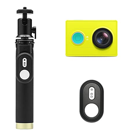YI Action Camera with Selfie Stick & Bluetooth Remote (US Edition) Lime Green Action Cameras at amazon