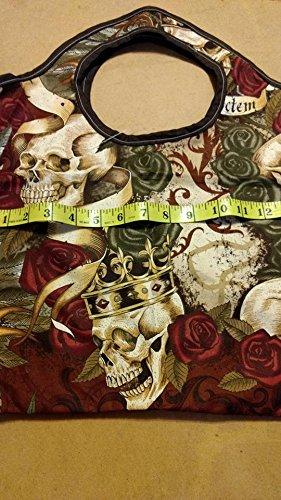 Skull & Roses fabric tote bag gift bag