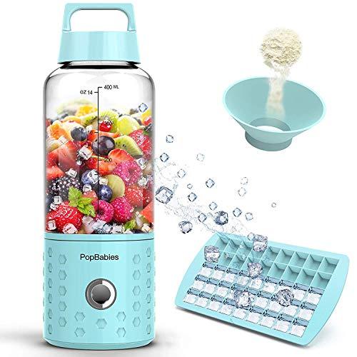 (Portable Blender, PopBabies Personal Blender, Smoothie Blender. Rechargeable USB Blender Corolina Blue)