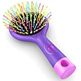 Detangling Brush with a Mirror - Soft Bristle- Straightening Detangler- For All Hair Types (Purple)