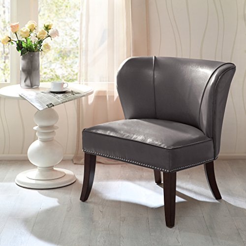 Madison Park Hilton Wingback Faux Leather Accent Chair, Gray (Leather Wingback)