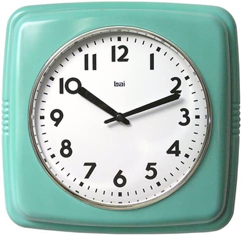 Bai Square Retro Wall Clock, Turquoise – 750.TU