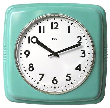 Attirant Bai Square Retro Wall Clock, Turquoise