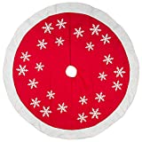 56 inch Red White Snowflakes Design Wool/Felt Christmas Tree Skirt