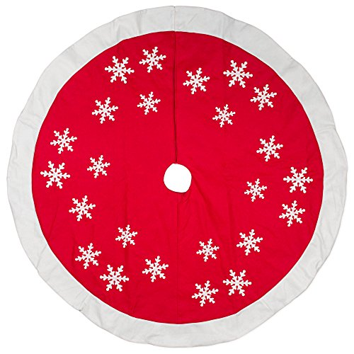 - 56 inch Red White Snowflakes Design Wool/Felt Christmas Tree Skirt