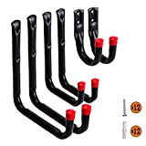 Heavy Duty Garage Hooks and Hangers Organizer - Wall Mount Garage Hanging Storage Utility Hooks for Ladders, Bike and Tools Black 6 Pack