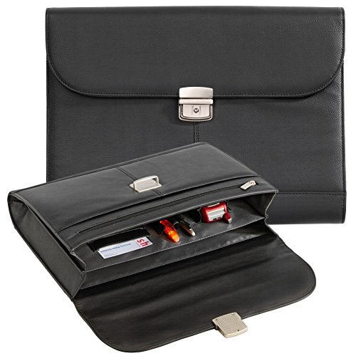 Konferenztasche - Konferenzmappe -Aktenmappe Collegemappe Echt Leder schwarz 22001