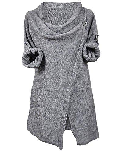 Myobe Women's 2016 Asymmetric Hem Cowl Neck Cardigan Split Wrap Sweater (free size, Light Gray) (Split Neck Sweater compare prices)