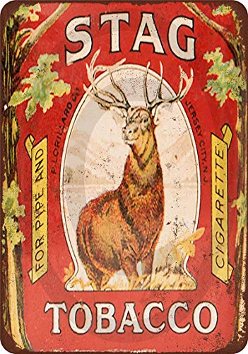 Novelty Funny Sign Stag Tobacco Vintage Metal Tin Sign Wall Sign Plaque Poster for Home Bathroom and Cafe Bar Pub, Wall Decor Car Vehicle License Plate Souvenir 11-21